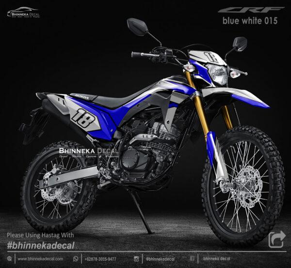 DECAL STICKER CRF 150L DESAIN BLUE WHITE KODE 001