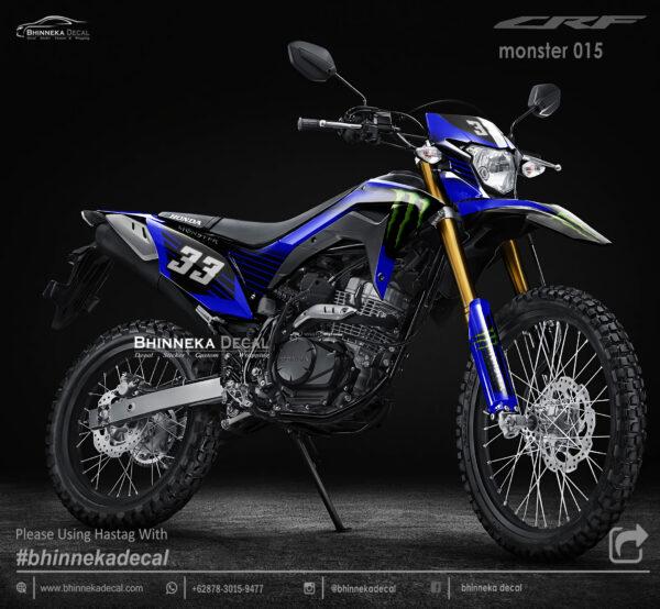 DECAL STICKER CRF 150L DESAIN MONSTER BLUE KODE 003