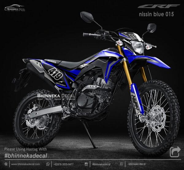 DECAL STICKER CRF 150L DESAIN NISSIN BLUE KODE 005