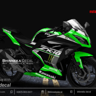 DECAL STICKER NINJA 250 FI DESAIN MOTOCARD GREEN KODE 014