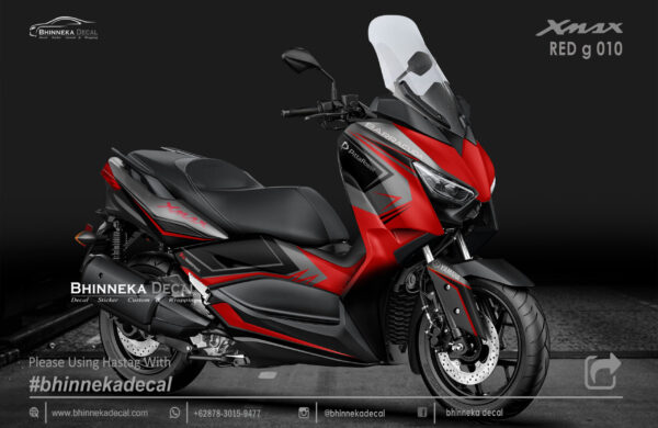 DECAL STICKER YAMAHA X MAX 250 GRAFIS RED KODE 010