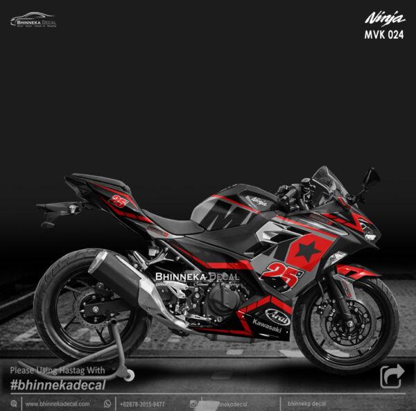 DECAL STICKER NINJA FI ALL NEW DESAIN RED BLACK MVK-009