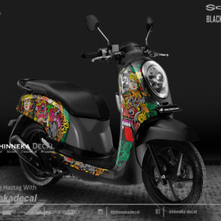DECAL STICKER HONDA SCOOPY BLACK BARONG-013